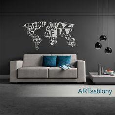 (3678n) Nálepka na stenu - Mapa s textami | ARTSABLONY.SK
