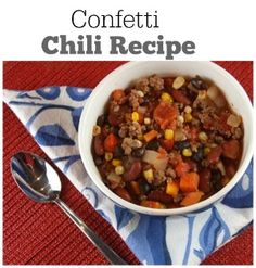 Confetti Chili Recipe: a healthier chili recipe!  Nutritional information and Weight Watcher's points included.