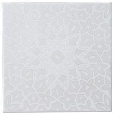 Fleur Silver Eff Ceramic Wall Tile, (L)200mm (W)200mm | Departments | DIY at B&Q