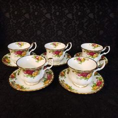 """Royal Albert Bone China, """"Old Country Roses"""" Teacups & Saucers, Five (5) Available, Made in England 1962, Charming Country Floral Farm, MINT Wedding China, Surprises For Her, Elegant Dining, Tea Sets, Royal Albert, Vintage Bohemian, China Dinnerware, Tea Cup Saucer, Diamond Pattern"""