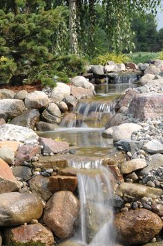 A beautiful cascading falls offering some water to this landscape.➕➖Ideas And Art➕More Pins Like This At FOSTERGINGER @ Pinterest ➖✖️