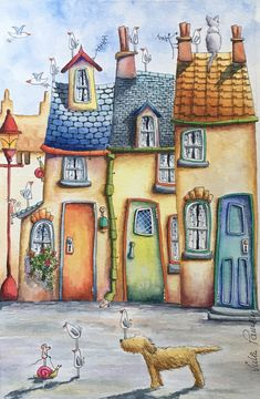 Discover recipes, home ideas, style inspiration and other ideas to try. Images D'art, Art Fantaisiste, Art Mignon, Happy Paintings, Owl Paintings, House Illustration, Naive Art, Art Design, Whimsical Art