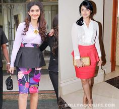 #SonamKapoor or #ParineetiChopra who carries #Peplum skirts better?: Peplum skirts have started to become a regular statement at fashionable Bollywood dos. Even though it's a style that's difficult to wear, especially with a curvy, generous-hipped Indian figure, we must say that these gals are leaving no stone unturned to make the most of the classy trend