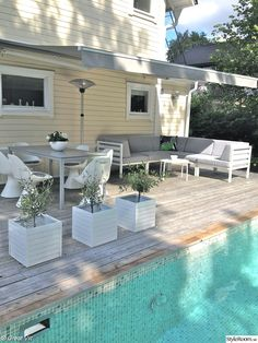 Nautical Pool Look Rustic Pergola, Outdoor Pergola, Outdoor Areas, Outdoor Rooms, Outdoor Living, Above Ground Pool Decks, In Ground Pools, Pool Plants, Porches