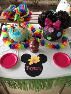 Minnie Mouse Hawaiian Luau 1st Birthday Party Decorations