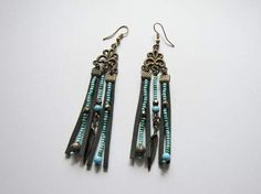 Suede earrings and natural turquoise / Beaded ethnic earrings