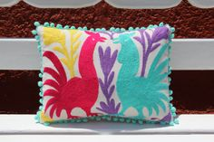 Multi Colored Pom Pom Authentic Otomi Folk Art Pillow by Mexico, Tenango, mexican wedding, textile, mexican suzani, suzani, embroidery, hand embroidered, otomi, www.casaotomi.com, otomi, table runner, fiber art, mexican, handmade, original, authetic, textile , mexico casa, mexican decor, mexican interior, frida, kahlo, mexican folk, folk art, mexican house, mexican home, puebla collection, las flores, travel tote, boho, tote, handbag, purse, cushion, pillow, gift basket