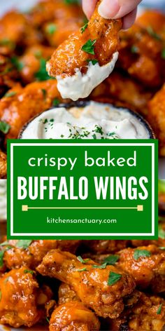 These oven buffalo wings are saucy, crispy skins and tender and moist meat inside. Pair with your favorite dipping sauce and dive in. A great dinner recipe or even appetizer for a crowd. Chicken Wing Sauces, Chicken Wing Recipes, Recipe Chicken, Chicken Wing Dipping Sauce, Buffalo Chicken Recipes, Oven Chicken, Thai Chicken, Orange Chicken, Crispy Baked Chicken Wings