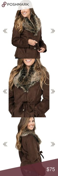 Belted brown jacket with faux fur trim Chocolate brown, very soft jacket with a fancy faux fur collar. The collar looks much more lush in person. I want to just put this jacket on and take a nap because it's so comfortable and warm. 😊💕 Cripple Creek Jackets & Coats