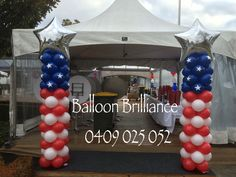 """""""4th of July celebrations in Canberra"""" #ballooncolumns #entrancedecor #americanembassy #act #cbr #canberraballoons #BalloonBrilliance"""