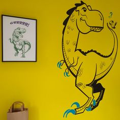 Large T-Rex Dinosaur Wall Decal applied on a bright yellow wall - Designed by Glue Studio.