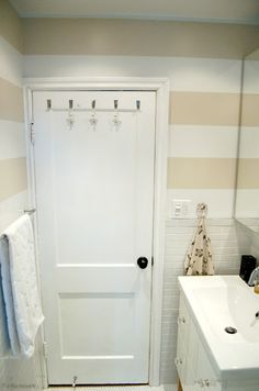 Paint for half bath - downstairs ~ stripes in small bathroom