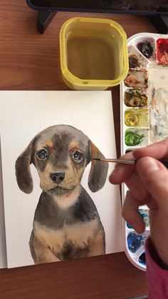 Dachshund puppy watercolor time lapse video - Watercolor Paintings for Home and Nursery - Chien Watercolor Galaxy, Easy Watercolor, Watercolor Animals, Watercolour, Watercolor Painting Techniques, Watercolor Paintings, Nursery Paintings, Whale Painting, Art Plastique