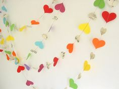 10ft or 20 ft Garland-Hearts-Rainbow-Music Sheets-Wedding Decor-Birthday-Bunting-Decoration-Festive-Bright-Baby Shower-Engagement Party