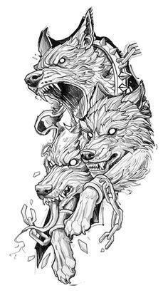 Wolf Tattoo Sleeve, Full Sleeve Tattoo Design, Wolf Tattoo Design, Tattoo Design Drawings, Tattoo Sketches, Sleeve Tattoos, Badass Tattoos, Body Art Tattoos, Wicked Tattoos
