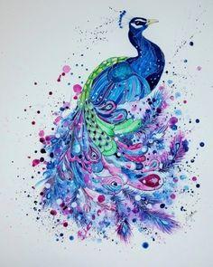 Peacock Art Print by Jonna Lamminaho Watercolor Peacock Tattoo, Peacock Drawing, Feather Drawing, Peacock Artwork, Peacock Painting, Watercolor Animals, Watercolor Paintings, Colorful Paintings, Watercolour