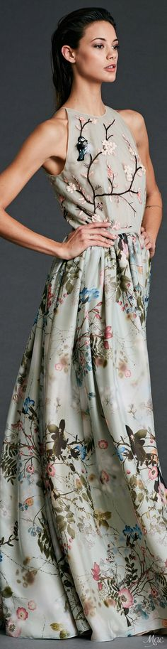 Dennis Basso Pre F-17, floral dress: embroidered bodice, printed skirt.