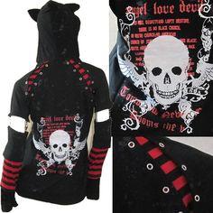 Black and Red Stripe Skull Punk Emo Hoodie Jacket + Arm Warmers SKU-11401104