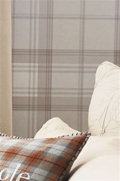 Buy Check Natural Wallpaper from the Next UK online shop Tartan Wallpaper, Striped Wallpaper, Wallpaper Lounge, My Living Room, Living Room Decor, Country Living Room Wallpaper, Dining Room, French Country Living Room, Front Rooms
