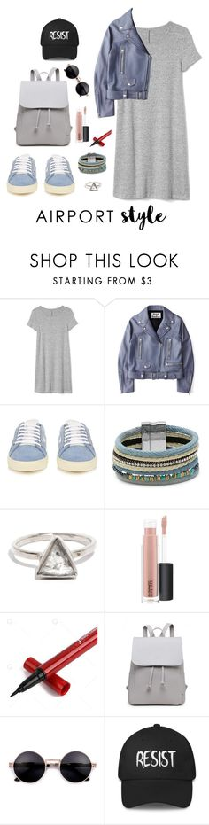 """""""Summew!"""" by itjedjuitje ❤ liked on Polyvore featuring Gap, Acne Studios, Yves Saint Laurent, Design Lab, MAC Cosmetics, contest, dress, jacket, airportstyle and itjedjuitje"""