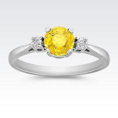 Round Yellow Sapphire and Diamond Three Stone Ring from Shane Co.
