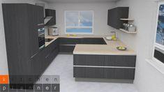 Nobilia Kitchen, Gray And White Kitchen, Kitchen Planner, Grey Kitchens, Küchen Design, Corner Desk, Inspiration, Furniture, Home Decor