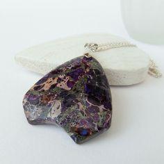 Unique purple jasper pendant necklace by BeadstormJewellery