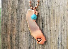 California Necklace with Heart Stamped over San Diego