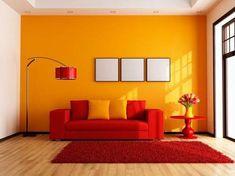Orange Rooms, Living Room Orange, Colourful Living Room, Room Paint Colors, Paint Colors For Living Room, Bedroom Colors, Colorful Interior Design, Colorful Interiors, Modern Interior