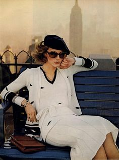 Anne Holbrook in Adolfo. Photo: Chris von Wangenheim. Vogue, February 1974.