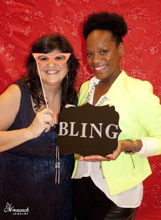 Fun photo booth pic of Melinda Tomasello / the Monarch Jewelry Blog & the MelindaTomasello blog with Margo / Beauty and the Beat at Monarch Jewelry's Blog and Bling Event. Monarch Jewelry's showroom is in Winter Park, Florida.
