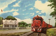 A Katy Freight Train passing the birthplace of former President Dwight D. Denison Texas, Little Engine That Could, Holiday World, Railroad Pictures, Railroad History, Vintage Postcards, Around The Worlds, Family History, Kansas