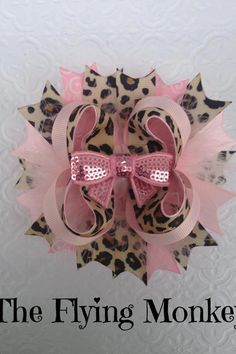 Leopard and pink hairbow
