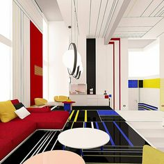"""De Stijl Mondrian Apartment by Interior Designers Brani & Desi Bulgaria-based studio Brani & Desi designs modern spaces """"where geometry, colors and functions have equal responsibility."""" Brani & Desi have turned to abstract… Interior Bauhaus, Apartment Interior Design, Diy Interior, Interior Design Studio, Interior Architecture, Interior Decorating, Bauhaus Architecture, Apartment Layout, Decorating Games"""