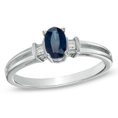 Oval Blue Sapphire and Diamond Accent Ring in 10K White Gold - View All Jewelry - Gordon's Jewelers