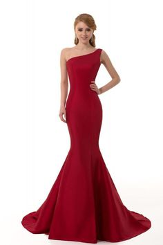 GEORGE DESIGN Brief Elegant Burgundy Mermaid One-Shoulder Evening Dress
