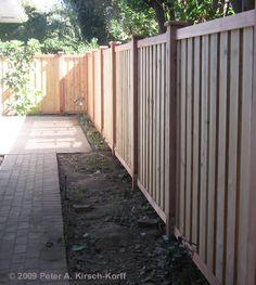 Modern Vertical Cedar Wood Fence & Gate - Pasadena, CA