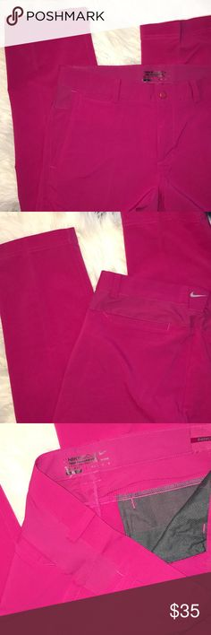 """NWOT Nike Tour Performance Golf Pants Fuschsia Nike Golf DRI-FIT Tour Performance Pants.  New without tags.  Rich deep berry / fuschsia color. Zip fly with snap.  Belt loops.   Side and back pockets. Medium. Inseam 32"""".  100% poly. Nike Pants"""