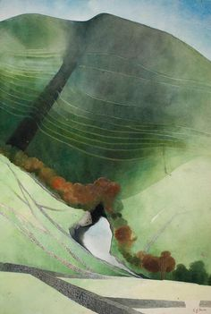 Valley and River, Northumberland, 1972, by Edward Burra. 1905 - 1976