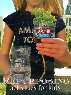 Great repurposing activities for kids! 8 ways to repurpose water bottles + a video showing how a used bottle is turned into a new one! ad