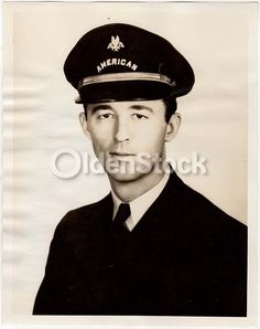 Donovan Wood Early American Airlines Pilot in Uniform Vintage Aviation Advertising Promo Photo