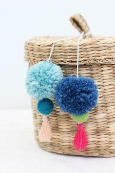 pompoms in blue