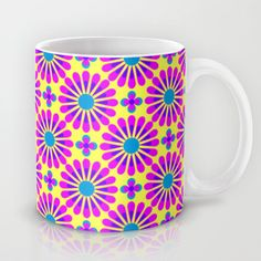 Bright Geometric Floral Pattern Mug