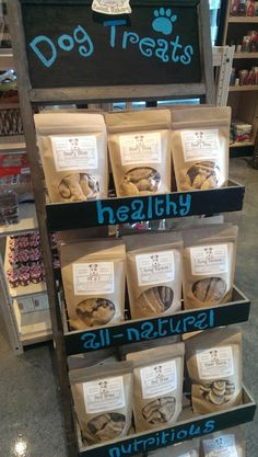 Pawsitively Sweet Bakery dog treats display with 9 flavors at Eilan Hotel in San Antonio TX