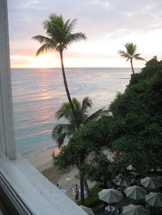 View from a room in the Banyan Wing at the Westin Moana Surfrider ~ on Waikiki Beach, Honolulu, Hawaii