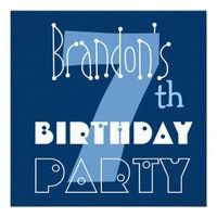 Custom Name Modern Kid's 7th Birthday Blue Invitations  - Customizable. #birthday #party #celebrate #celebration #invite #invitation #envelope #custom #customize #personalize #stamps #stickers