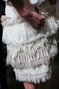 An abundance of textures: dress with interesting use of layered, mixed materials & finishes - fashion details