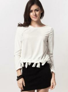 White Long Sleeve Top w/ Bow Accents #ustrendy #bows #chic #spring