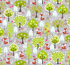 cfded52f106 Colorful fabrics digitally printed by Spoonflower - Fox Forest Grey.  Contemporary FabricModern ...