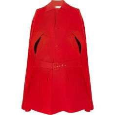 Marni Woven wool cape (€645) ❤ liked on Polyvore featuring outerwear, coats, jackets, cape, red, marni coat, red coat, woolen coat, red wool coat and wool cape coat